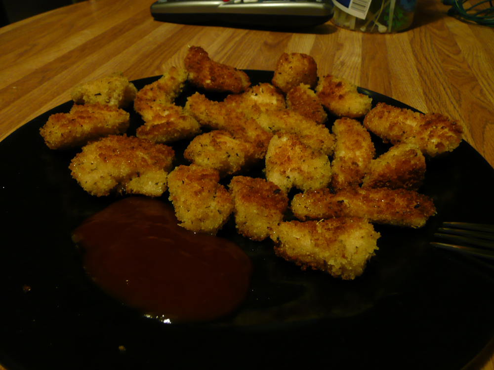 Golden chicken nuggets.
