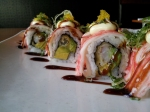A very intricate outer layering on the Potomac Roll. Crab stick, fish roe, Japanese mayo, and scallions.