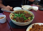 Spicy beef and noodle soup.