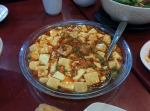 Mapo tofu, a Szechuan dish made with tofu set in a spicy chili sauce.