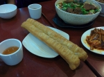 Chinese fried cruller (also known as the Chinese doughnut or youtiao).