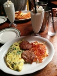 Brunch time: the Jon's Omelet with a PB&J milkshake