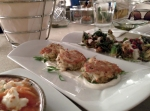 Aglaia Kremezi Crab Cakes - jumbo lump crab cakes with roasted garlic yogurt sauce