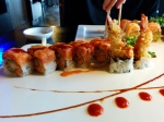 The Riverdale Roll: shrimp tempura and spicy snow crab on the inside, spicy tuna on the outside.