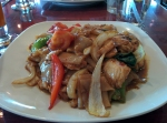 Drunken noodles with chicken. The combo of red pepper flakes and basil really bring out some heat.