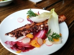 Charred Octopus tentacle served with blackberry mostarda, chicory, and meyer lemon juice